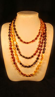 Genuine long Baltic Amber necklace, 49 grams