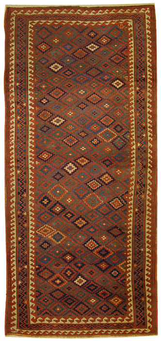 Antique, authentic and original Russian Kazak rug – Hand-knotted – Size: 274 x 126 cm – With certificate of authenticity from an official appraiser (Galleria Farah 1970)