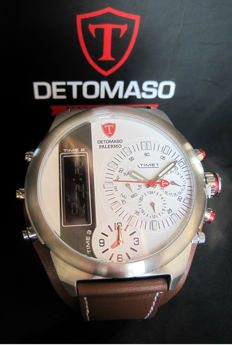 Detomaso - XXL Palermo DT2052-F-Men's Watch Chronograph  White Dial 3 Time Zones-New