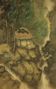 "Scroll painting  "" Waterfal and hermitage "" - Japan - early 20th century"