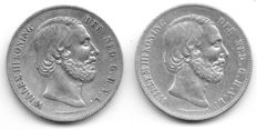 The Netherlands – 2½ guilder 1858 and 1859 William III – Silver