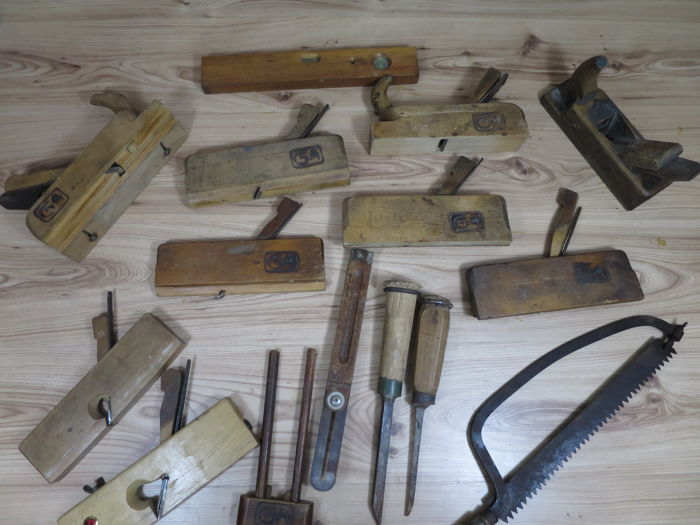 Collection Of Antique Carpentry Or Cabinet Maker Paraphernalia Hand