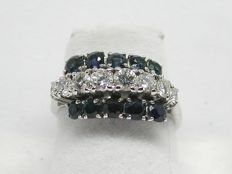Diamond & sapphire cocktail ring total: 2,32ct. - Ring size BE 50 // NL 16,00mm // free adjustment of ring up to size 70 // 18K white gold