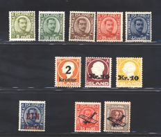 Iceland - Selection - Facit catalogue nos. 121/123 + 128/132/135/136/140 + 159 + 160/61