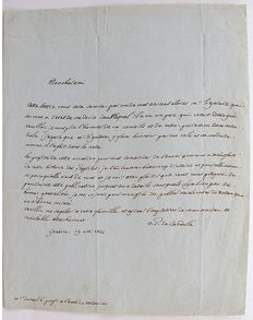 Autograph; Letter from the Swiss Botanist A.P de Candolle to the French Zoologist A.M.C. Dumeril - 1836