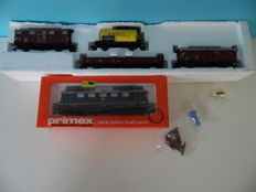 Primex H0 - 3033 - E-locomotive BR 141 of the DB and 4 miscellaneous freight wagons of the DB