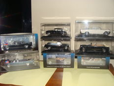 Norev-Atlas - Scale 1/43 - Lot with 8 presidential cars: 3 x Lincoln continental limousine, 1  x ZIL 111 V, 3 x Citroen and 1 x Mercedes-Benz