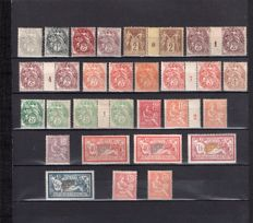 France 1900/1902 - Selection of White type values with year, Mouchon & Merson - Yvertno. 107/125
