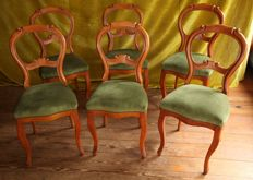 Set of six beech chairs with green velour upholstery, Netherlands, circa 1880
