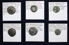 Greek Antiquity - Lot of 6 Greek Coins - Philip II, Amphipolis, Pella, Thessalonica - All Classified