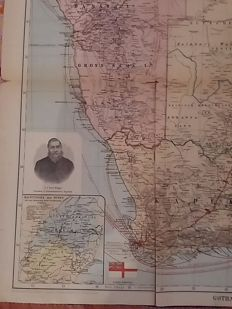Political and military map of South Africa German Empire Colour Original handwritten notes.