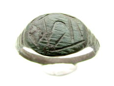 "Early Medieval bronze Viking ring with Runic Script on bezel - ""Bravery"" - 20 mm"