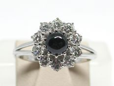 Vintage diamond & sapphire cluster ring total: 1,80ct.