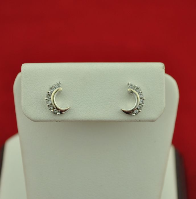 Diamonds (tot. 0.35ct - GH/SI) set on White 18k Gold Earrings - Size 10mm x 5mm