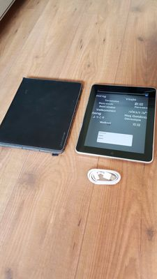 Apple iPad 1, 64GB with Leather cover! with new chargercable