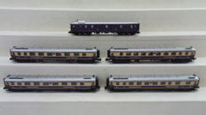 "Hobbytrain N - 24500 - 5-piece ""Rheingold - 75 Years"" set of the DR with lighting"