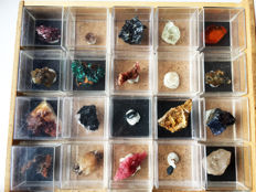 Mineral Collection with Sapphire, Amber, Aquamarine, Danburite, Topaz, Tourmaline, Stibnite, Rhodochrosite ...... (21)