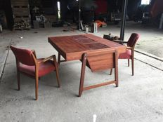 Clausen & Maerus, designed for Eden office furniture –  Mahogany architect´s desk and two chairs