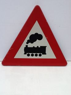 Warning sign Unguarded Crossing - second half 20th century