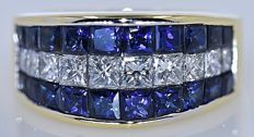 4.18 Ct Princess , Sapphires and Diamonds, band ring - No reserve price!