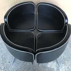 Four leatherette chairs for round table - 1970s - Italy