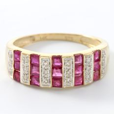 14kt Yellow Gold Ring Set with 0.10 ct Diamonds & 0.75 ct Rubies  - SIZE 7