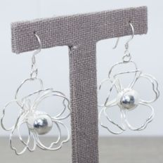 925/1000 silver - Flower earrings - Italian design - Length: 50 mm - No reserve