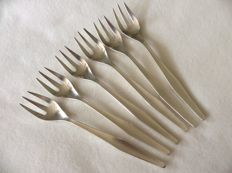 Six oyster forks, Christofle France, decor Orly, ca 1950