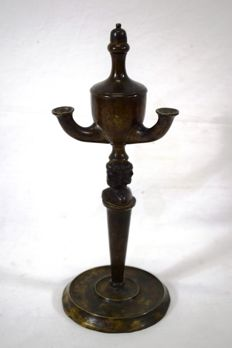 Bronze oil lamp - Italy - second half of the 19th century