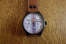 Steel watch with leather band - Le mans 1971/Porsche 917/ Martini & Rossi