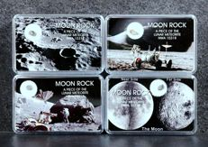 4 x Lunar Meteorites: NWA 10318 - From Northwest Africa - Sahara Desert - 35 mg + 16 mg + 31 mg + 30 mg ( 4 ) - Lunar collection -