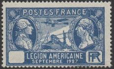 France 1927 – Légion Américaine without the nominal value, signed Calves, Brun, and Roumet, and with Calves paper certificate – Yvert no. 245b