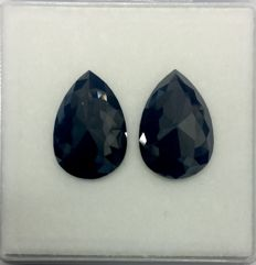 Matching Pair of Treated Black Diamond 14.28 ct. Pear shape Flat one side Diamond, AIG Certified