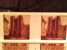 Stereo glass negatives 12 x Church Cathedral d Amiens