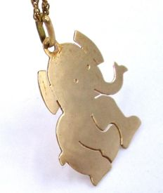 18K Solid Gold Elephant & Necklace / Chain
