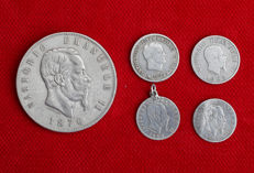 Italy, United Kingdom - Lot of 5 silver coins, years: 1809-1876, King Victor Emmanuel II and Emperor Napoleon.