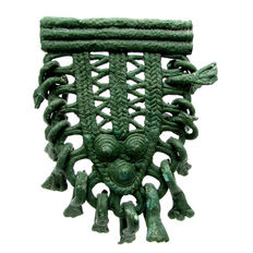 Celtic / Iron age Open-Work Coiled Pendant with numerous amulets - 85 mm