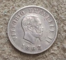 Kingdom of Italy – 50 Cents 1862 - Naples -  Vittorio Emanuele III – Silver