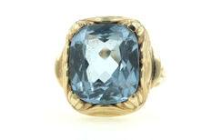 Aquamarine women's ring, 585 gold ring with flawless aquamarine, weight: 14.50 g – ring size 56