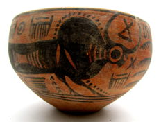 Indus Valley Painted Terracotta Bowl with Bull Motif - D 143mm x H 90mm