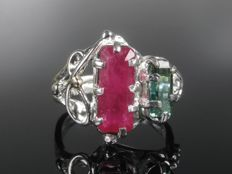 Gold (585) silver sterling (925) ring, ruby, tourmaline, 1970s
