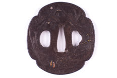 "Iron Tsuba with brass and silver inlay ""Two Hitsuana"" - Japan - 17th/18th century"
