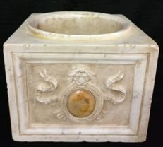 Masonic initiation mortar, hand carved and inlaid, in Carrara Calacatta marble - Italy, Florence - early 20th century
