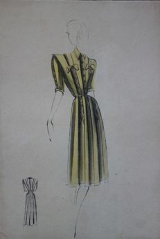Jean-Paul Gauthier & Michel Goma (attributed to) - Robe jaune rayée dentelle noire