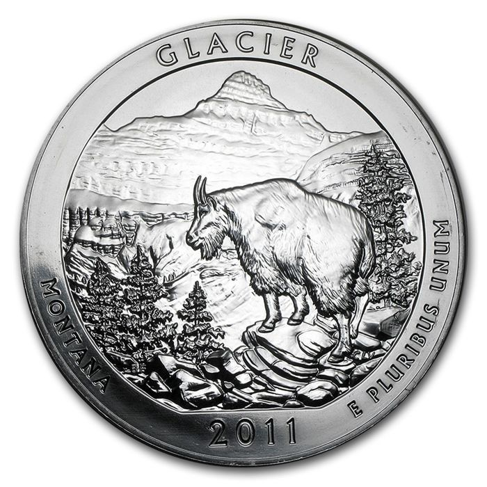 United States - US Mint - America the Beautiful - Glacier National Park 2011 - large 5 oz 999 silver coin
