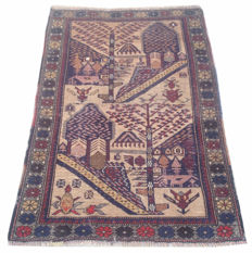 Vintage Afghan Hand Knotted PICTORIAL Balouch Herati Area Rug 122 cm x 81 cm