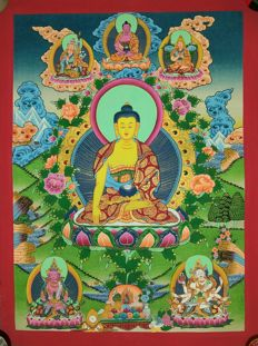 Thangka painting, Buddha - Tibet/Nepal - late 20th century