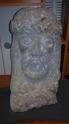 Stone sculpture, Christ face - Italy, weight 60 kg
