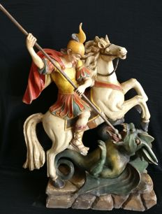 Saint George and the Dragon, lacquered wood sculpture - Italy, Ferrara - second half of the 19th century