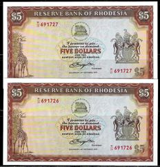 Rhodesia - 2x 5 Dollars 1978 y 2 x 10 Dollars 1979 - Correlative - Pick 36b and 41a